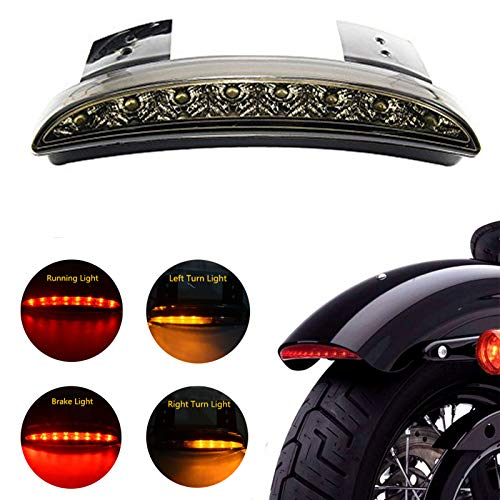 ANKIA 5 Wires Motorcycle Chopped Rear Fender Edge LED Brake License Plate Tail Light Stop Running Light Turn Signal Lamp for Harley Sportster XL883N 1200N XL1200V XL1200X (Smoked Black)