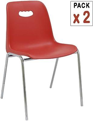 Centrosilla - 2X Silla Fija de Polipropileno Uso polivalente Venezia Color Rojo diseño Juvenil, Ligero