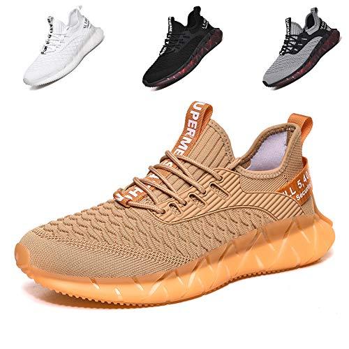 fashionable Sportschuhe, Laufschuhe, Atmungsaktiv, Leichte Turnschuhe, Gym Fitness Sneaker für Herren Damen G156 Golden 39EU