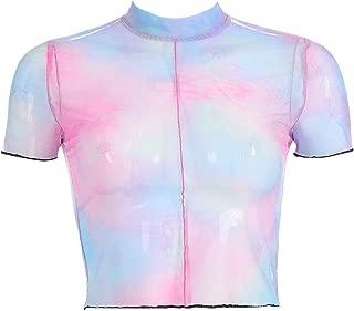 C.C-US Women Girls Tye-Dye Sheer Mesh T Shirt Crop Top Sexy Tank Tops Short Sleeve Tee for Festivals Rave Clubwear