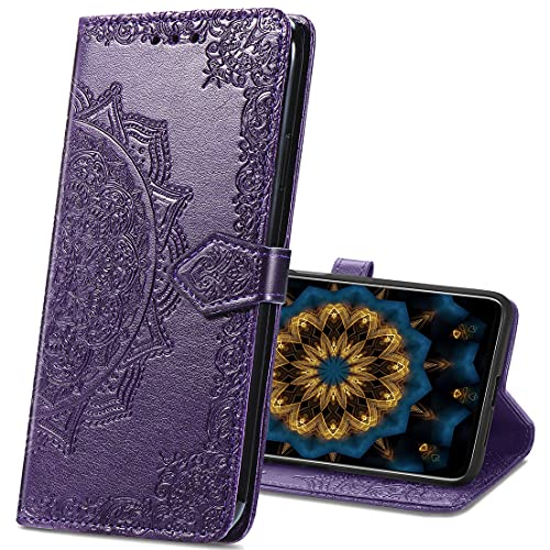 MRSTER Xiaomi Mi A2 Lite Hülle, Premium Leder Tasche Flip Wallet Hülle [Standfunktion] [Kartenfächern] PU-Leder Schutzhülle Brieftasche Handyhülle für Xiaomi Mi A2 Lite. SD Mandala Purple