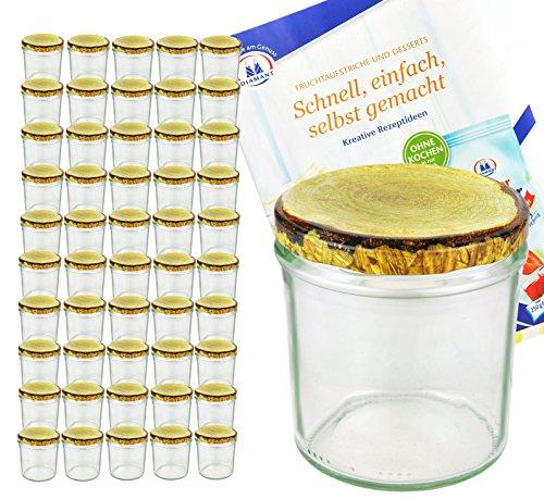 MamboCat 50er Set Sturzglas, 350 ml mit to 82, Deckel mit Holz-Dekor, Einmachglas, Einweckglas inkl. Diamant-Zucker Gelierzauber Rezeptheft