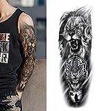 1 hoja de tatuajes temporales falsos grandes brazo completo pierna DIY tatuaje falso pegatinas impermeables para hombres mujeres niñas adultos arte corporal