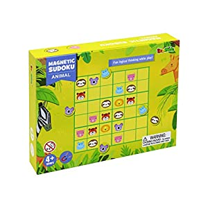 Sudoku Puzzle Game Toys for Kids and Adults, Yarloo Magnetic Sudoku Brain Teasers Games Family Play,Educational Toys for Logical Thinking, Animals and Numbers Sudoku Double Play for 4+ Years Old Age