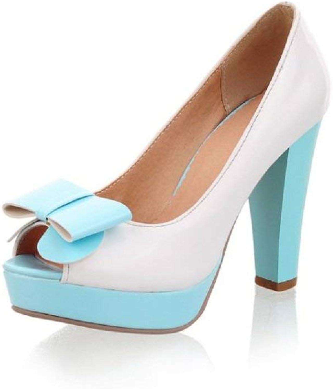 Wallhewb Fashion Bows Womens Platform High Heel Peep Toe Pumps shoes bluee Dress Skinny Joker No Griding Feet Rubber Sole Sweet Girls Elegant bluee 7 M US Pumps shoes
