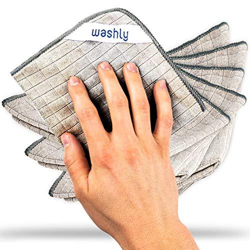 washly Mikrofasertücher 6 Stück 30 x 30 cm ÖKOTEX Universal Reinigungstücher I Microfaser Putztuch vielseitig einsetzbar I Mikrofaser Reinigungstücher sind extrem saugstark, weich und fusselfrei