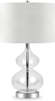 Henn&Hart TL0129 Double Gourd Table Clear Glass Lamp, One Size