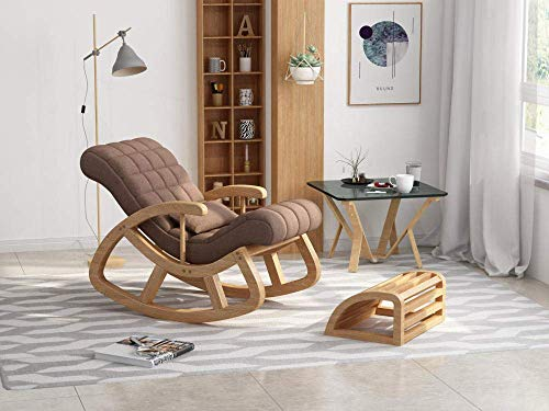 LLSS Rocking chair Solid wood rocking chair, easy chair, adult solid wood recliner, napping chair, balcony, lazy couch, elderly rocking chair