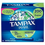 Tampax Pearl Tampons with Plastic Applicator, Super Absorbency, 200 Count, Unscented (50 Count, Pack of 4 - 200 Count Total)