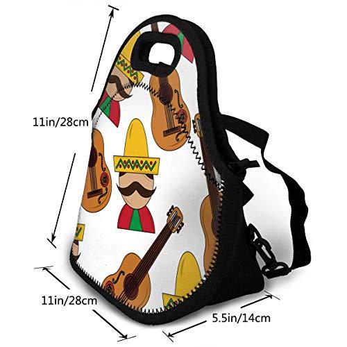 Bolsa de almuerzo de neopreno para hombre mexicano y guitarra tradicional lonchera mochila lonchera con correa ajustable para el hombro para el trabajo, la escuela al aire libre picnic