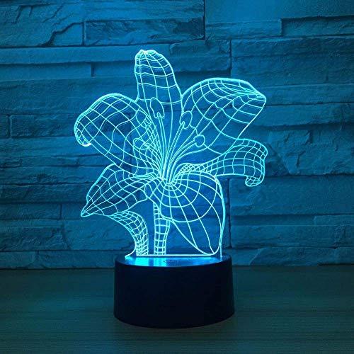 Lily Flower 3D Nachtlicht 7Colors Weihnachtsgeschenke Stimmungslampe Touch Girl Child Living/Schlafzimmer Tisch Schreibtisch Sleeping Lighting