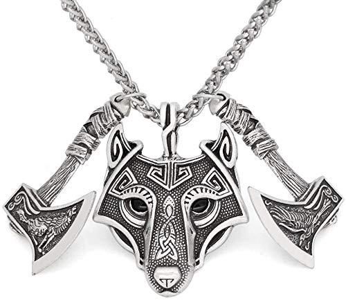 Zulux Catena Amuleto di Viking Rune Uomo, Raven Odino Ascia con la Collana del Pendente della Testa del Lupo Il Celtic, Fascino Handmade Jewelry scandinava Pagan