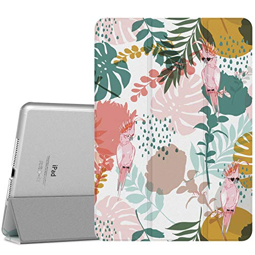 MoKo Case Fit iPad Pro 9.7 - Slim Lightweight Smart-shell Stand Cover with Translucent Frosted Back Protector Fit iPad Pro 9.7 Inch 2016 Release Tablet, Parrot Tree (with Auto Wake/Sleep)