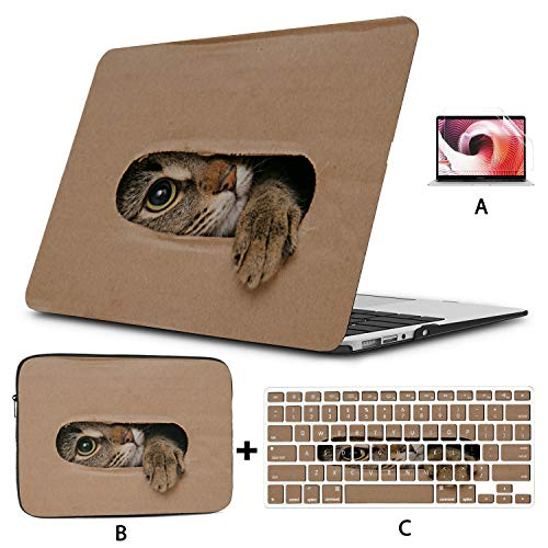 Laptop Hard Shell Case Naughty Cardboard Cat Fun 2017 MacBook Pro Case Hard Shell Mac Air 11'/13' Pro 13'/15'/16' with Notebook Sleeve Bag for MacBook 2008-2020 Version
