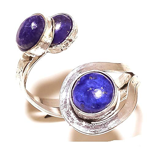 Blue Lapis! Girls Ring, Sterling Silver Plated Handmade Art Jewelry! Full Variety Store for Wedding Anniversary Birthday Party Gift, Ring Size 5 US (Adjustable)