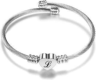 AURSTORE Bracelet Câble 20cm en Acier Inoxydable 316L, Réglable , Bracelet Lettre A-Z Femme Fille-Couleur Argenté