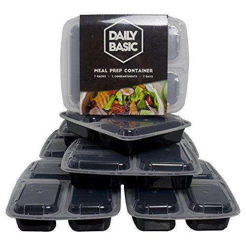 Dailybasic 3-Fach Meal Prep Container 6+1 GRATIS Pack | Mikrowellen, Spülmaschinen und Gefrierschrank geeignet | Beste Qualität | GRATIS E-Book mit leckeren Rezepten | Bento-Box | Food-Container