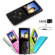 Btopllc MP3 /MP4 Player 16GB Card, Music Player, Portable 1.7 inch LCD MP3 / MP4, Media Player, USB Cable, Picture Review,Ebook Media Player - Black