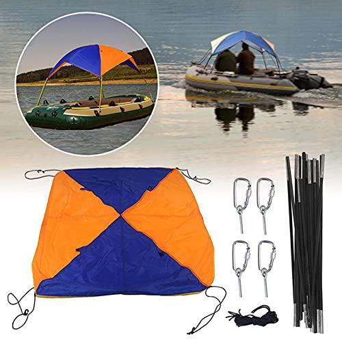 Refugio para sombrilla para barcos - Bimini Top Boat Cover, 2-4 personas Inflables plegables ligeros de calidad Toldo para barcos Carpa de pesca con hebillas en forma de D para acampar y pescar
