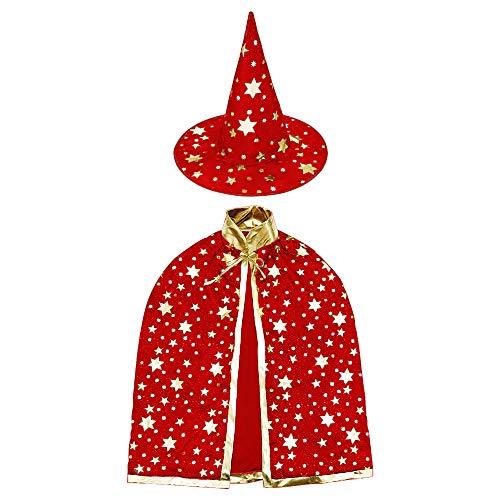 HomeMall Kinder Halloween Kostüm, Hexe Zauberer Umhang mit Hut für Kinder (Magie Rot)