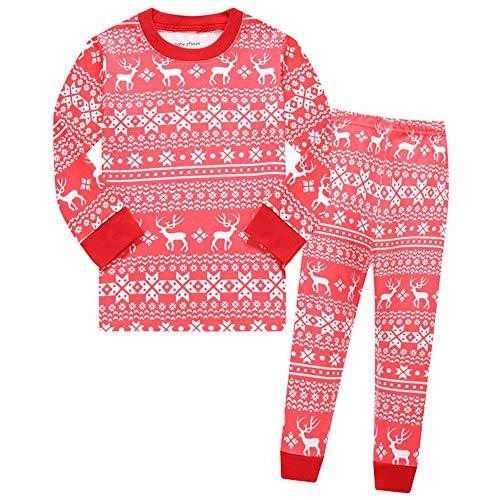 Schlafanzug Christmas Mädchen Baumwolle Kinder Langarm Pyjama Zweiteiliger...