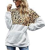 Tuopuda Mujer Sudadera Caliente y Esponjoso Tops Chaqueta Suéter Abrigo Jersey Mujer Talla Grande Hoodie Larga Pullover Deportivo Cremallera Chaqueta Hoodies Suéter Abrigo con Bolsillo (Leopardo, XL)