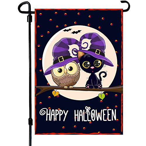 Happy Halloween Garden Flag 12.5x18 Double Sided 2-Layer Burlap Owl Garden Flag Celebrate The Halloween Day Festival Holiday Decorations for Your Lawn Garden Yard…