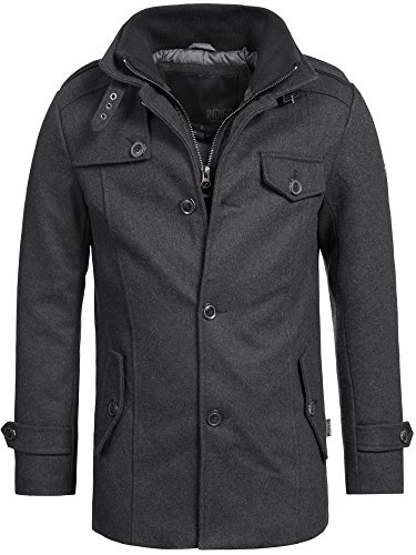 Indicode Herren Brandon Kurzmantel mit Stehkragen | Warmer Wollmantel kurzer Herrenmantel Wintermantel Winterjacke Herrenjacke Jacke Mantel für Männer Charcoal Mix L