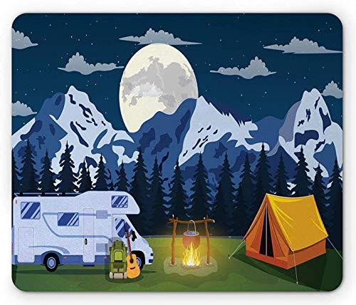 RV Outdoors Activity Themed Camping Area Bild im Wald mit einem gemütlichen Zelt und Lagerfeuer, Rechteck Rechteck rutschfest Gummi Mauspad, mehrfarbig
