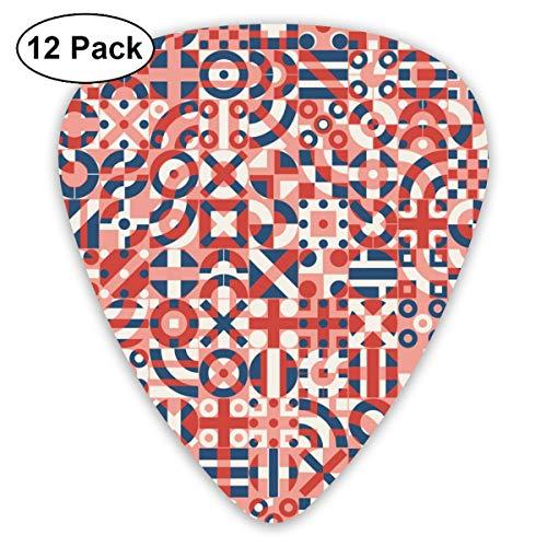 Gitaar Pick Rood Blauw Wit Onregelmatige Geometrische Blok Vierkant 12 Stuk Gitaar Paddle Set Gemaakt Van Milieubescherming ABS Materiaal, Geschikt voor Gitaren, Quads, Etc