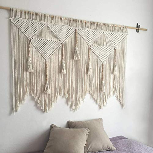 """44""""W × 47.2""""L Macrame Wall Hanging Boho Chic Woven Tapestry-Cream Beige Bohemian Tassel Art Cotton Rope Woven Large Wall Decor Curtain for Home Apartment Dorm Room Backdrop (Wood Stick Not ..."""