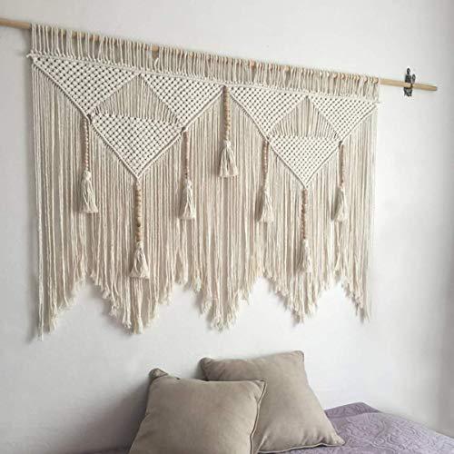 44'W × 47.2'L Macrame Wall Hanging Boho Chic Woven Tapestry-Cream Beige Bohemian Tassel Art Cotton...