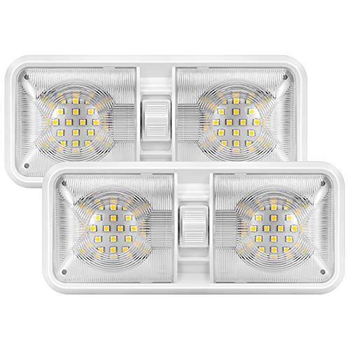 Kohree 12V Led RV Ceiling Dome Light RV Interior Lighting for Trailer Camper with Switch, Natural White 4000-4500K, 48X5050SMD, 640 Lumens (Pack of 2)