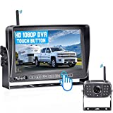 Rohent R12 FHD 1080P Digital Wireless Backup Camera with 7' Touch Key DVR Split Screen Monitor High-Speed Observation System for RVs,Trucks,Trailers,Fifth Wheel IP69K Waterproof Super Night Vision