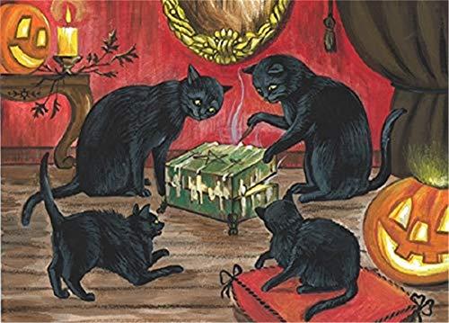 Refosian 5X7-ZOLL-DRUCK DER URSPRÜNGLICHEN MALEREI Halloween SCHWARZKATZE DYBBUK DIBBUK Box Spirit