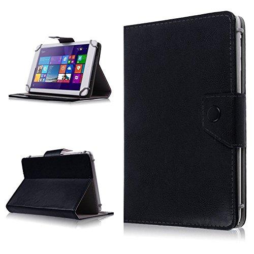 NAUC Tasche Hülle für ODYS Ieos Quad 10 Pro Schutzhülle Tablet Cover Hülle Bag Etui, Modellauswahl:Schwarz mit Magnetverschluss