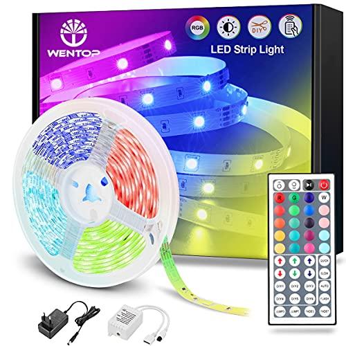 WenTop Tiras LED 5M, Luces LED Habitación 5 Metros, Tira LED RGB Color con Control Remoto, Para Decoración de TV, Techo, Dormitorio, Bares