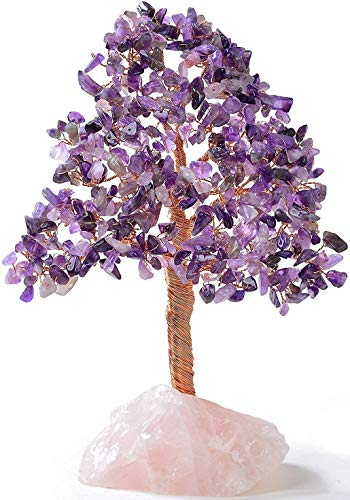 KALIFANO Premium Natural Amethyst (414 Gemstone Count) Chakra Crystal Tree with Rose Quartz Base with Healing Properties - Bonsai Feng Shui Money Tree for Positive Energy, Luck and Wealth
