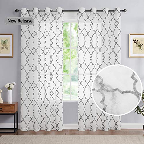 Grey White Embroidery Sheer Drapes Bedroom Linen Textured Light Filtering Grommet Curtain Panels Gray Moroccan Quatrefoil Pattern Voile Window Treatment Sets for Parlor, 52