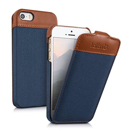 kalibri Flip Hülle Hülle kompatibel mit Apple iPhone SE (1.Gen 2016) / 5 / 5S - Stoff Echtleder Cover Schutzhülle Tasche Blau Braun