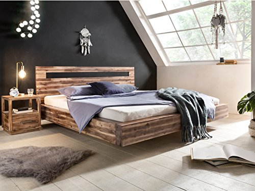 Woodkings® Holz Bett 180x200 Marton Doppelbett Verschiedene Hölzer Schlafzimmer Massivholz Design Doppelbett Schwebebett Massive Naturmöbel Echtholzmöbel günstig (Akazie Rustic)