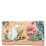 Anuschka Women's Hand Painted Leather Checkbook wallet/clutch, Cockatoo Sunrise