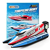 GizmoVine Mini Remote Control Boat for Kids Age 5-9 , Fast Rc Boats for Pools Racing Submarine Water Toys Adults Kids Gift, Blue Upate Version