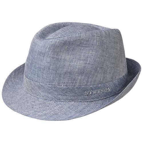 Stetson Osceola Trilby Leinenhut - Stoffhut Damen/Herren - Sommerhut Made in Italy - Fedora-Hut aus Leinen - Trilbyhut Frühjahr/Sommer - Trendhut blau 58 cm