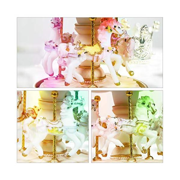 Dragon-Hub Music Box 3-Horse Carousel Gifts for Kids Children Girls Christmas Birthday Valentine's Gifts Decorations… 7