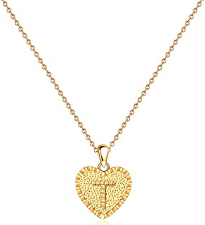 IEFSHINY Heart Initial Necklace for Women - 14K Gold Filled Dainty Heart Pendant Initial Letter Necklaces, Handmade Engraved Alphabet Monogram Necklaces Jewelry Gift Idea for Women Teen Girls