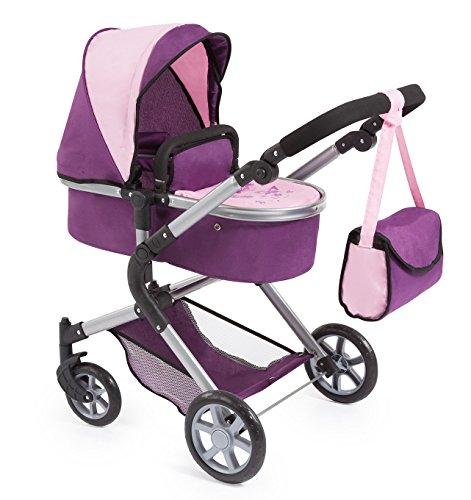 Bayer Design 18164AA City Neo poppenwagen met luiertas en boodschappenmand / verwisselbaar in een sportwagen / in hoogte verstelbaar / Design: vlinder / paars, roze