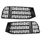 Par de luces antiniebla negro brillante panales de malla rejillas de luz antiniebla cubierta apta para RS5 B8.5 2013-2016