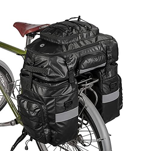 BAIGIO Borsa per Bicicletta 3 in 1 Borse Posteriori Bici Grande Portapacchi per Biciclette Impermeabile con Copertura Antipioggia (Nero)