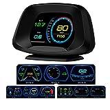 P19 Versión de navegación HUD Head up Display GPS/OBD2 Sistema dual Pantalla a color HD Ai Intelligence GPS/OBD Fecha de computadora/Advertencia de velocidad/Goodle Map 4 en 1, fácil de instalar